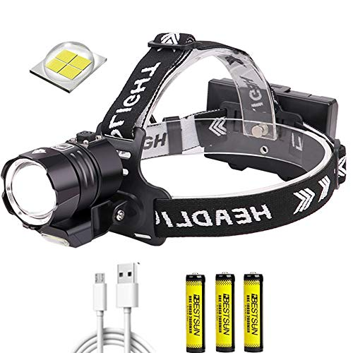 Linterna frontal LED de 12000 lúmenes recargable, superbrillante XHP90 Linterna frontal con zoom 4 modos de linterna con luz...