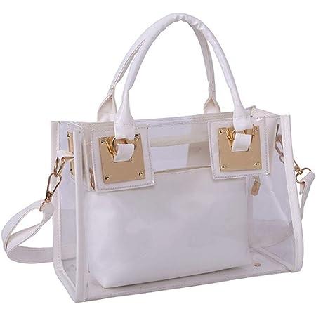 Rullar Damen 2 Stücke Kleine Klare Schultertasche Taschenset Umhängetasche PVC Transparent Shopper Handtasche Clutch Tasche Weiß