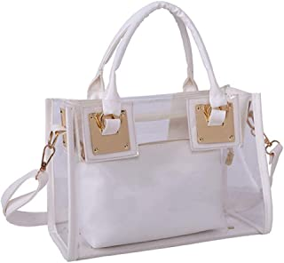 Rullar Women 2 Pcs Small Clear Tote Beach Shoulder Top-handle Bag PVC Transparent Satchel Handbag Purse