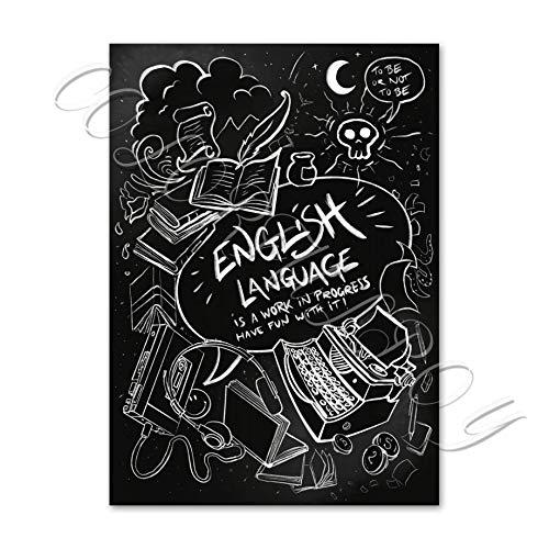 Leinwand Bilder,Moderne Drucke Leinwand Gemälde Schwarze Und Weiße Englischsprachige Studie Fähigkeiten Kunst Nordic Poster Und Drucke Wand Malen Auf Leinwand Drucken Wall Bilder Für Kinder Zimm