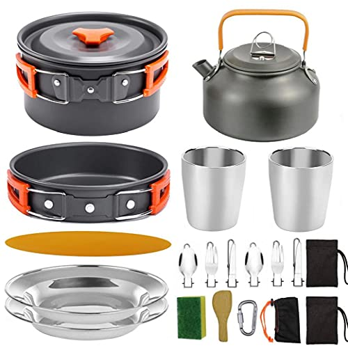 Camping Pot Barbecue Cooker Portable Picnic Set Lightweight Equipment for 2-3 People Traveling Trekking Camping Orange 20PCS