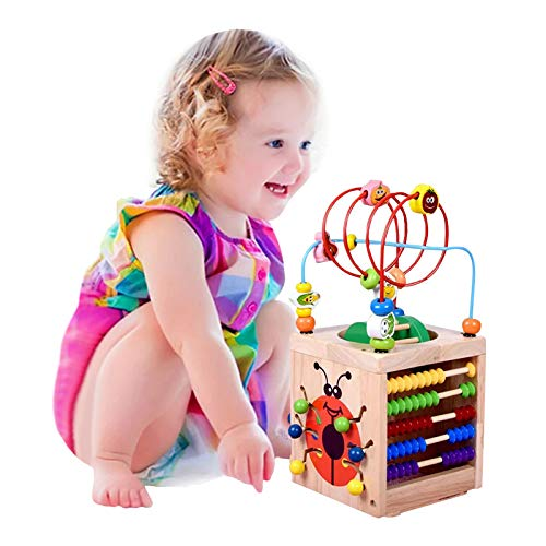 BeebeeRun Holzwürfel Spielzeug Motorikwürfel für Kinder Holz Activity Cube 6 in 1 Baby Bead Labyrinth Spielzeug Pädagogisches Holzspielzeug Geschenk für Kleinkinder und Kinder