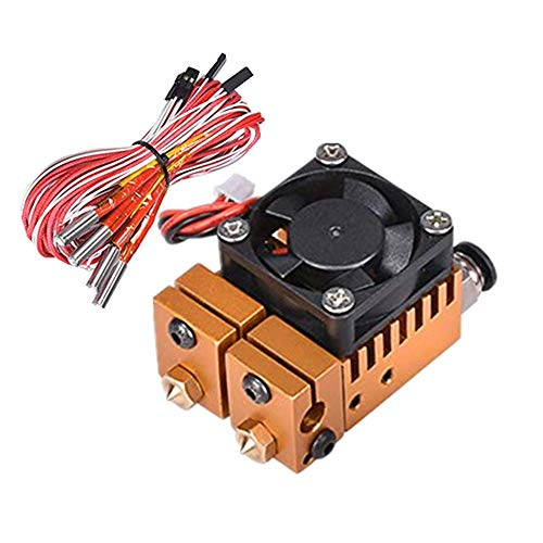 Dual Color 2 in 2 Out Extruder for 3D Printer 1.75mm Filament Multi-Extrusion V6 Bowden Hotend Kit (12V, Golden) 0.4mm Nozzle…