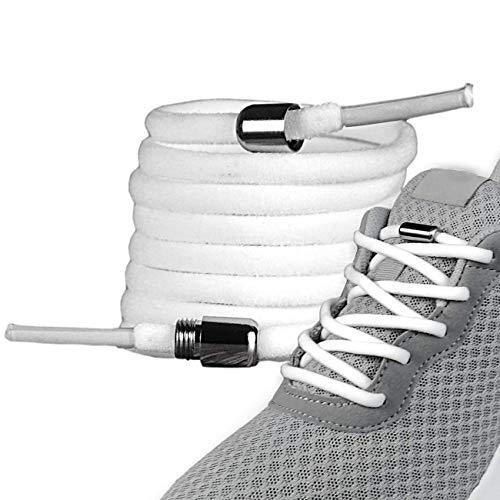 LaceHype - 2 Paar Premium Elastische Schnürsenkel mit Metallkapseln ohne binden - Set für 2 Paar Schuhe - mit Kapseln für Sneaker, Laufschuhe, Sporschuhe (Weiß)