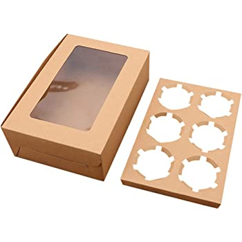 Premium  5-100Pcs Cupcake Box 2 hole Window Face Case with Inserts Wedding Party