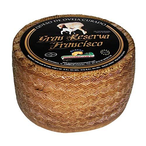 Queso de Oveja Viejo Extremeño Gran Reserva Curado - Peso Aproximado 3 Kg - Queso elaborado con leche cruda de Oveja - Queso Curado