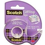Scotch Geschenkverpackungsband auf einem Spender - 1 Rolle - 19mm x 15m - Satiniertes, Durchsichtiges Klebeband zur Verwendung auf Geschenkpapier