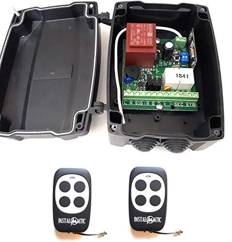 Kit profesional de central de maniobras para motores a 220v de puertas enrollables y persianas, con receptor de radio multimarca incorporado, con 2 mandos a distancia código evolutivo. Alta calidad.