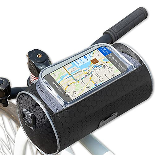 solawill Borsa Manubrio Bici ,Borsa per Manubrio da Bicicletta Impermeabile Multifunzione Borsa Portaoggetti Anteriore di Grande capacità con Touchscreen per Il Ciclismo MTB Biciclette Pieghevoli,Nero