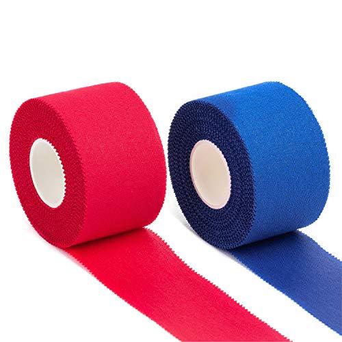 Igoera Sporttape, Sports Tape, 2 Rollen je 3,8 cm x 10 m, Athletic Tape aus 100% Baumwolle, selbstklebendes Tapeband für stützende und schmerzlindernde Bandagen (Rot-blau)
