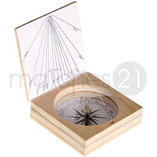matches21 Magnetkompass mit Sonnenuhr Bausatz f. Kinder Werkset Bastelset ab 10 Jahren
