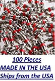 (Pack of 100) TPMS Nickel Plated Red Valve Cores Made in The USA for Schrader Valves, VA-01, for Use on Cars, Trucks, Bikes, HVAC