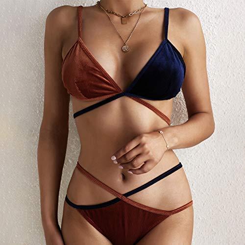 Blssom Sexy Female Bikini Wave Splicing Cup Split Cover-Up Swimsuit Beachwear High Waisted Bikinis Set Two Piece Swimsuits Triangle Swimming Costumes Bikini Set Swimwear Bikini Set Swimsuit