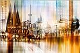 Poster 60 x 40 cm: Köln Skyline Abstrakte Stadtansicht Dom