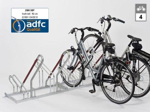 Fahrradständer - Anlehnparker 2504 XBF einseitig - 4 Einstellplätze - Radabstand 500 mm