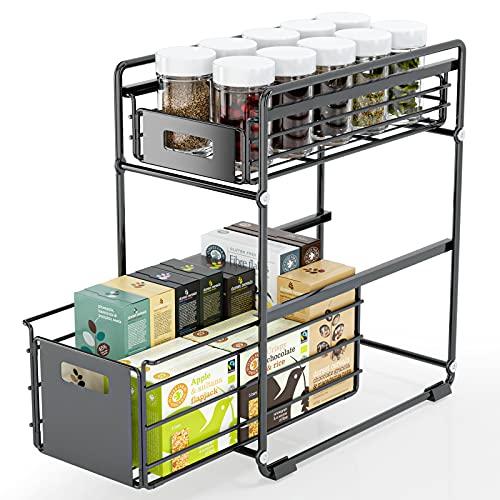 FINEW Sous évier étagère, Étagère à tiroirs, Panier de Rangement Coulissant à 2 Niveaux, étagère à épices étagère de cuisine en métal, organisateur d'étagère de rangement pour cuisines