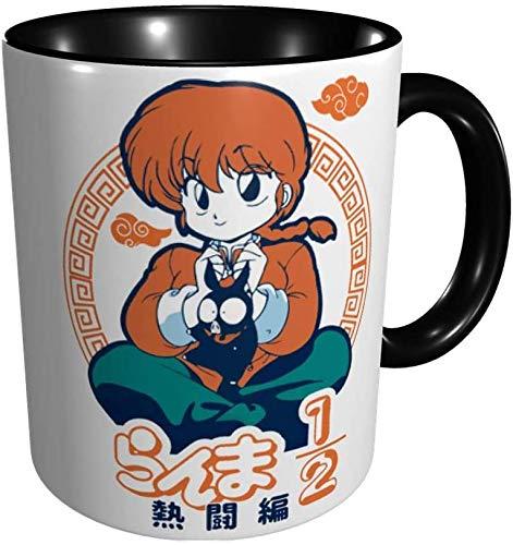 Ranma 1/2 Tazas Comics Anime Tazas de café Novedad Regalo Taza de café de cerámica Tazas de café de viaje para el hogar Verde-Negro