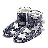 Zapatillas de Estar por casa Bootie Estrellas Lindo Peluche Mujer Azul 36/37