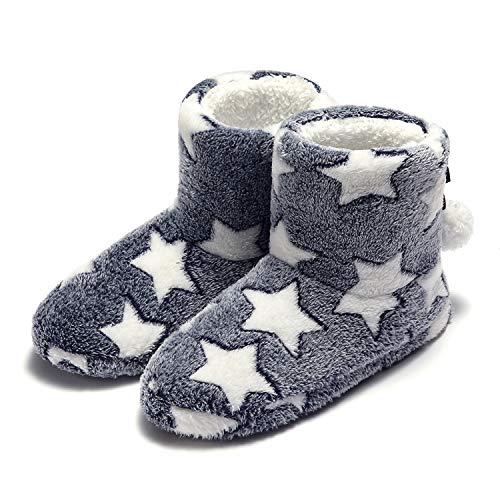 Garatia Donna Pantofole Inverno Caldo Stella Pantofola con Pom Poms Blu 40/41 EU