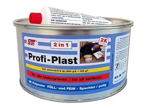 STC 2 kg Profi Plast 2in1 2K Karosserie Polyester Spachtelmasse Füllspachtel Feinspachtel (2 kg Dose inkl. Härter)