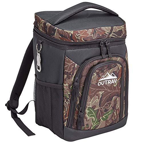 Camo Backpack Cooler Bag with Bottle Opener – Fully Insulated Thermal 16 Can Tote - Padded Back and Shoulder Strap - Front Zipper and Mesh Water Bottle Pockets – by Outrav