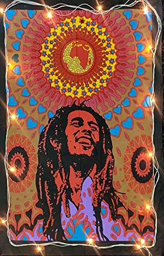 ICC Bob Marley Laughing Poster 30x40 In Hippie Bohemian Psychedelic Wall Hanging Tapestry Flag Gift Wall Hanging Dorm Decor Blanket Tapestries Hippy Hippie Rasta Reggie Collage Mat Decoration