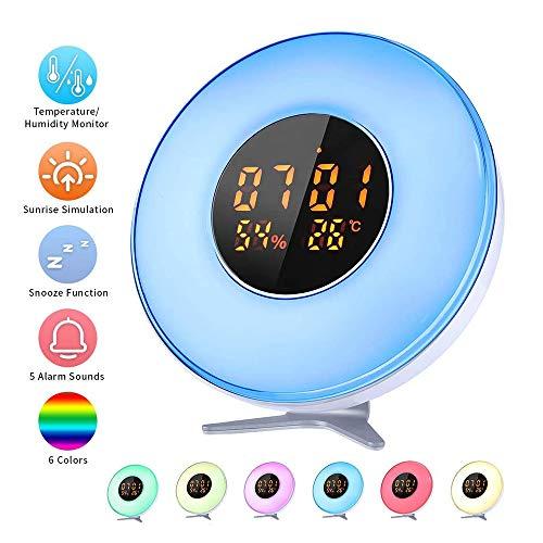 QYYL Wake Up Light Despertador Luz, 7 Colores Luces Despertador para Adulto Niños, Lámpara de Mesita de Noche con Reloj Despertador, Función Snooze, Apto para niños y Adultos (17x17x9cm)