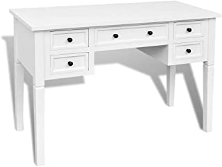 110cm White Office Writing Desk with 5 Drawers Side Table Study Reproduction