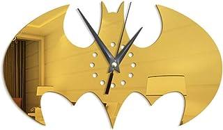WHSS Horloge murale Batman créative en acrylique pour décoration de salon Jaune 21 x 35 cm