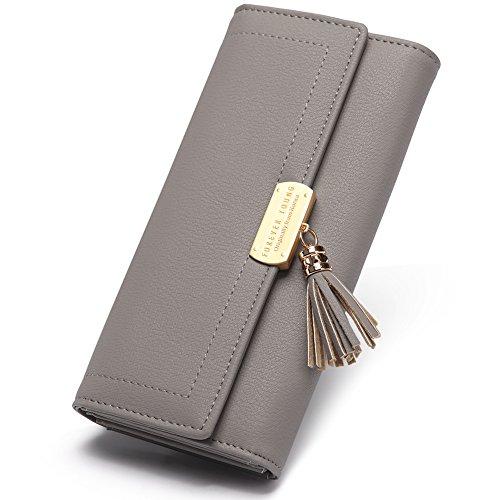 CLUCI Geldbörse Damen Elegant Leder Lang Geldbeutel Frauen Portemonnaie mit Viele Kartenfächer, 11-grau, Large