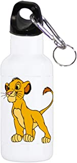 Cartoon Lion Cub Film Character - Printed 20oz WHITE Stainless Steel Sport Water Bottle