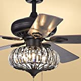 52 inch Black Metal Ceiling Fan 3 Lights 5 Leaves Drawstring Fan Chandelier with 3 Lights with 5 Wooden Blades Embedded Lamps Ceiling Fan Chandelier Lighting Decorative Chandelier