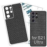 Galaxy S21 Ultra Skin Carbon Fiber 3M Film for Samsung S21 Ultra Wrap Protective Back Glass Thin 3D Elegant Skin (Samsung S21 Ultra)