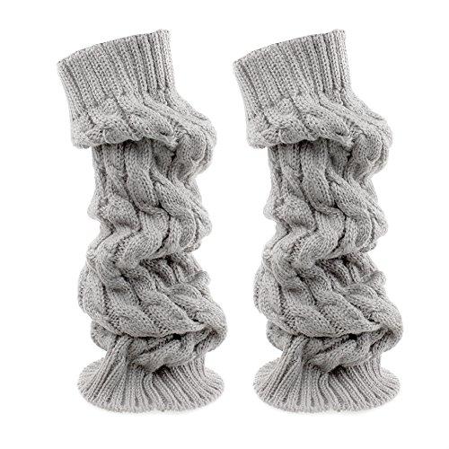 TININNA Inverno Cavo Knit Knit Crochet Ginocchio Alto Gambale Scaldamuscoli Boot Socks Lunghi Calzini Chiaro Grigio