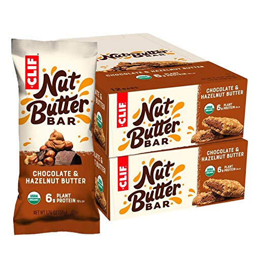 CLIF Nut Butter Bar - Organic Snack Bars - Chocolate Hazelnut Butter - Organic - Plant Protein - Non-GMO (1.76 Ounce Protein Snack Bars, 24 Count)