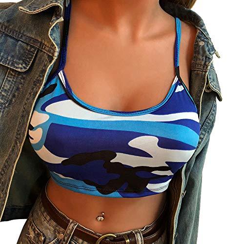 TOPKEAL Mini Chaleco de Camuflaje Sujetador para Mujer Crop Top sin Mangas con Tirantes Ajustables