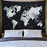 world map poster black and white - Lahasbja World Tapestry Map Tapestry Starry World Map Tapestry Apartment Essentials Black and White Tapestry Globe Galaxy Constellation Tapestry for Men Dorm Posters (M/51.2