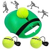 Fostoy Entrenador de Tenis, Equipo de Entrenador de Tenis Profesional con Elástica Goma y 3 Pelotas de Rebote para Entrenamiento Solo para Niños Adultos Principiantes, Naranja (Green)