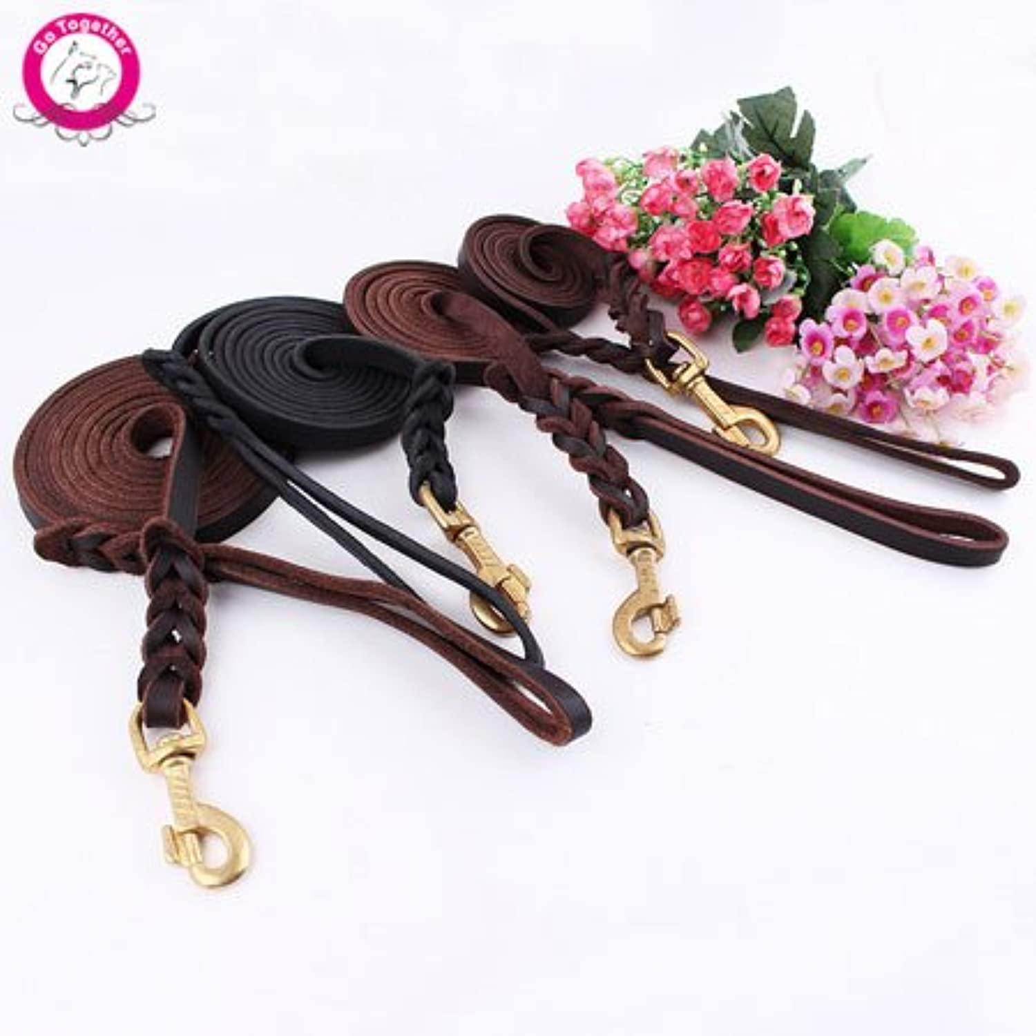 365Cor(TM) High Quality Genuine Leather Pet Dog Leash Luxury Strong Puppy Collar Leash Lead For Large Dogs S M L XL