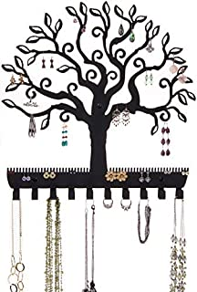 Angelynn's Jewelry Organizer Wall Mount Hanging Earring Holder Necklace Display Rack Storage Branch Rack, Tree of Life Black