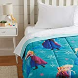 Ultra-soft reversible comforter with playful graphics featuring designs from Disney's Frozen Adds a colorful design element to your child's bedroom with familiar character images that they'll love Velvety-soft 100% microfiber exterior and plush filli...