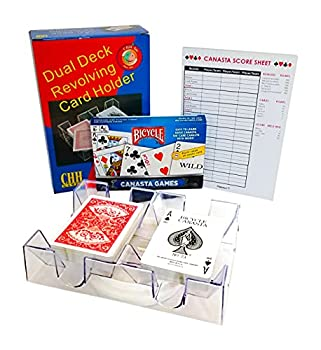 Canasta Cards with Point Values 2 Deck Rotating Card Tray Canasta Score Pad  Bundle of 3 Items