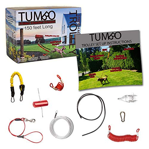 Tumbo Trolley 150 ft Dog Containment System - Solid Slider with Stretching Coil Cable with Anti-Shock Bungee (Safer and Less tangles) Aerial Dog Tie Out