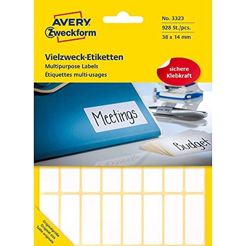 Avery Zweckform 3323 Haushaltsetiketten selbstklebend (38x14mm, 928 Aufkleber auf 29 Bogen, Vielzweck-Etiketten für Haushalt, Schule und Büro zum Beschriften und Kennzeichnen) blanko, weiß