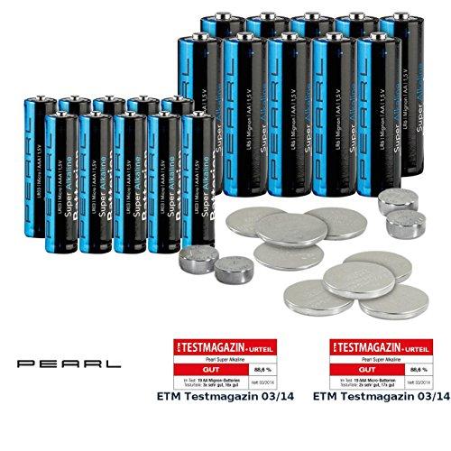 PEARL Batterienset: Batterie-Set 32-teilig mit Alkaline- und Lithium-Zellen (Uhrenbatterien Set)