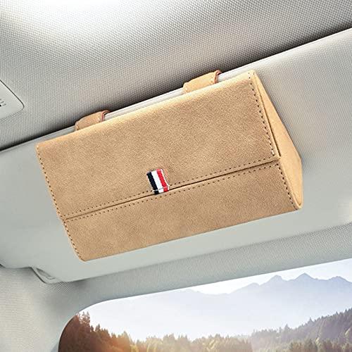 Funda de cuero para gafas de coche, funda universal para gafas de sol, caja organizadora de gafas y soporte para gafas para coche, para la mayoría de vehículos (beige)