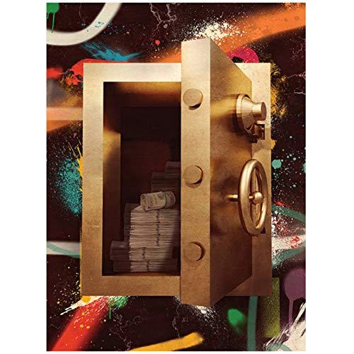 Cuadro de lienzo de caja fuerte dorada nórdica e impresiones, arte de pared, pintura al óleo abstracta, cuadro decorativo para sala de estar, Cuadros para el hogar