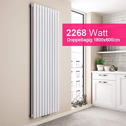 EMKE Heizkörper Design-Heizkörper Weiß Vertikal 1800x600mm Heizung Mittelanschluss Doppellagig, 2268W