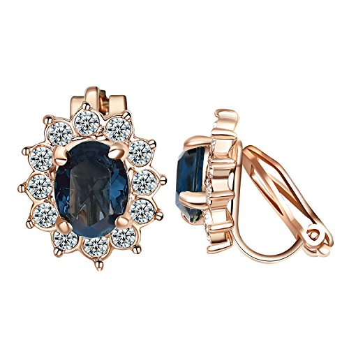Yoursfs Clip On Sapphire Earrings for Womens Navy Blue Cubic Zirconia Ear Clips 18ct Rose Gold Plated Non Pierced