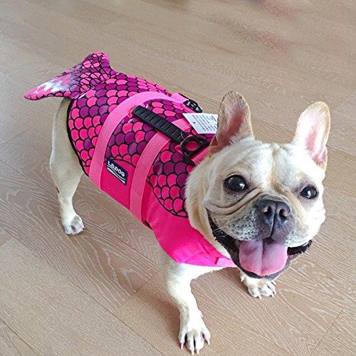 Hifrenchies Dog Life Jacket Shark Swimming Vest Pet Safety Swimsuit Floatation Life Vest for French Bulldog (M, Mermaid)